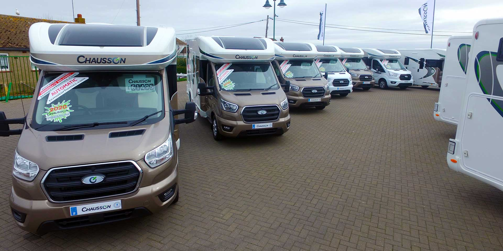 New Chausson Motorhomes lined up