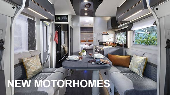 Interior view of a new motorhome
